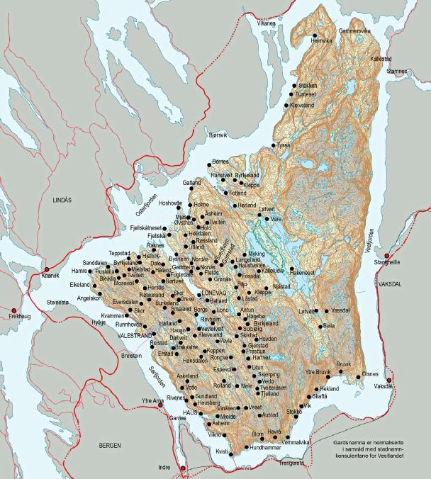 kart over osterøy Kart over gardane kart over osterøy